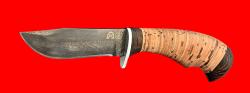 "Булатный нож ""Филин"", клинок тигельный булат, рукоять береста"