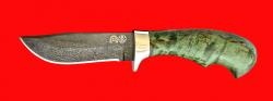 """Булатный нож """"Филин"""", клинок тигельный булат, рукоять стабилизированная карельская берёза (цвет зелёный)"""
