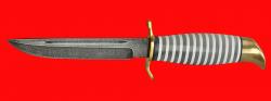 """Нож """"Финка НКВД"""" 002, клинок дамасская сталь, рукоять наборный пластик, латунь"""