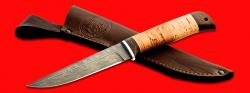 """Нож """"Фартовый"""", клинок дамасская сталь, рукоять береста, с отверстием под темляк (ремешок)"""