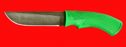 """Нож """"Грибник"""", клинок дамасская сталь, рукоять пластмасса (цвет зелёный)"""