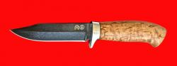 """Нож """"Гюрза"""", клинок тигельный булат, рукоять стабилизированная карельская берёза (цвет натуральный)"""