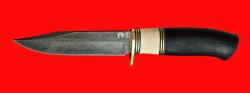 """Нож """"Гюрза"""", клинок тигельный композит (легированный булат), рукоять наборная граб, рог лося, кожа-латунь"""