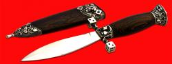 """Авторский нож """"Игровой"""", клинок сталь 95Х18, рукоять венге, мельхиор"""