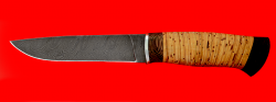 """Охотничий нож """"Леопард"""", клинок дамасская сталь, рукоять береста"""
