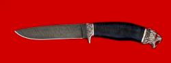 """Охотничий нож """"Леопард"""", клинок дамасская сталь, рукоять кожа, мельхиор"""