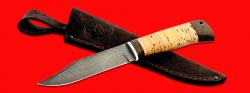"""Нож """"Пантера"""", клинок дамасская сталь, рукоять береста, с отверстием под темляк (ремешок)"""