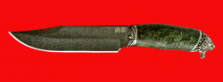 """Нож """"Промысловый большой"""", клинок тигельный булат, рукоять стабилизированная карельская берёза (цвет зелёный), мельхиор"""