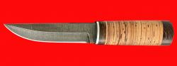 """Нож """"Росомаха"""", клинок дамасская сталь, рукоять береста"""