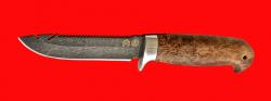 """Нож """"Рыбацкий-3"""", клинок тигельный булат, рукоять стабилизированная карельская берёза (цвет натуральный)"""