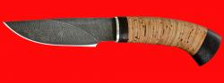 """Охотничий нож """"Рысь-2"""", клинок дамасская сталь, рукоять береста"""