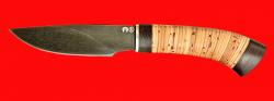 """Охотничий нож """"Рысь-2"""", клинок тигельный композит (легированный булат), рукоять береста"""