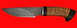"""Охотничий нож """"Рысь"""", клинок дамасская сталь, рукоять береста"""