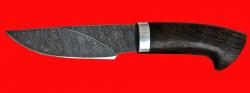 """Охотничий нож """"Рысь"""", клинок дамасская сталь, рукоять венге"""