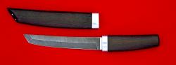 """Нож """"Самурай большой"""", клинок дамасская сталь, рукоять венге, деревянный чехол"""