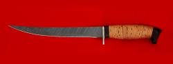 """Филейный нож """"Судак большой"""", клинок дамасская сталь, рукоять береста"""