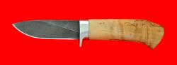 """Охотничий нож """"Сурок"""", клинок дамасская сталь, рукоять карельская берёза"""