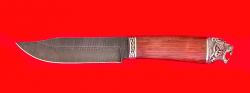 """Нож """"Таёжный большой"""", клинок дамасская сталь, рукоять бубинга, мельхиор"""