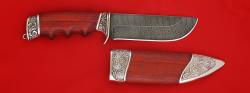 """Подарочный нож """"Тигр"""", клинок дамасская сталь, рукоять падук, мельхиор"""