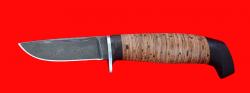 """Нож """"Викинг малый"""", клинок дамасская сталь, рукоять береста"""