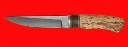 """Охотничий нож """"Ястреб"""", клинок булатная нержавеющая сталь (нержавеющий булат), рукоять наборная стабилизированная карельская берёза (цвет натуральный), микарта (цвет коричневый), латунь"""