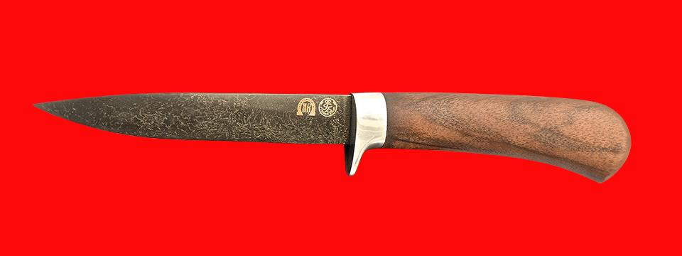 """Нож """"Засапожный-2"""", клинок тигельный булат, рукоять орех, заточка линза"""