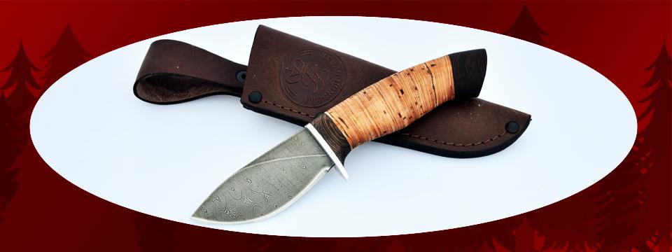 """Охотничий нож """"Заяц"""", клинок дамасская сталь, рукоять береста"""